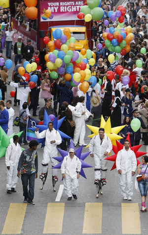 At least 50000 people turned out for the European gay and lesbian parade ...